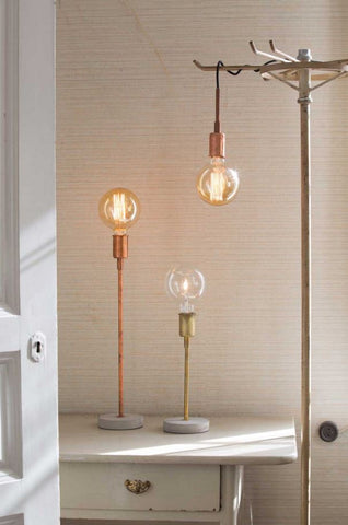 Copper & concrete lamp base from Watt & Veke Sweden