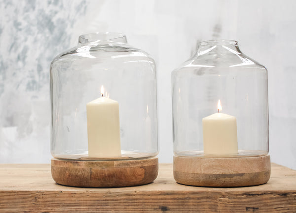 Bottle Shape Glass Hurricane Lantern with Wood Base - Greige - Home & Garden - Chiswick, London W4