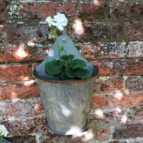 Vintage Indian Bucket Wall Planter - Greige - Home & Garden - Chiswick, London W4