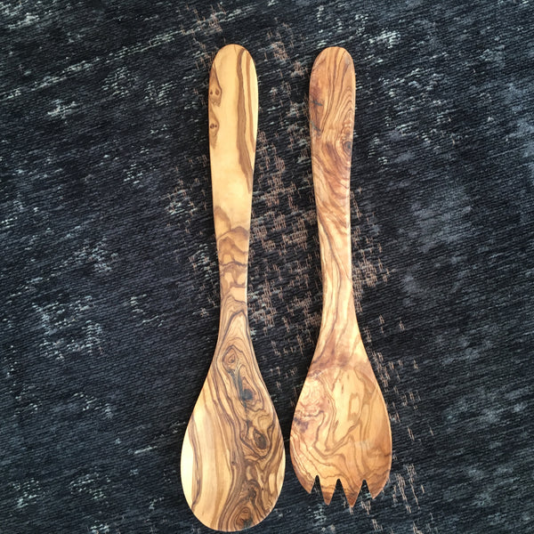 Olive Wood Salad Servers - Two Styles - Greige - Home & Garden - Chiswick, London W4