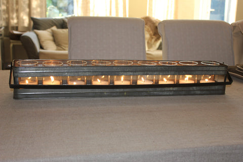 Long Zinc & Glass Tealight Holder - Two Sizes - Greige - Home & Garden - Chiswick, London W4