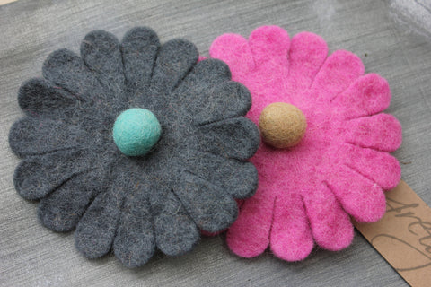 Handmade Felt Brooch - Michaelmas - Grey or Pink