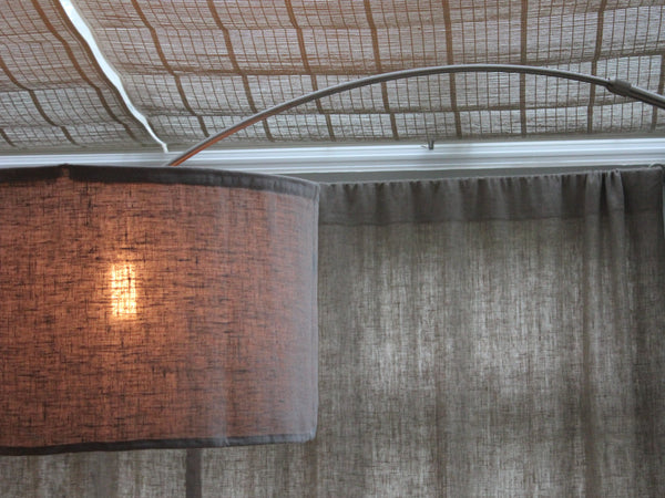 chrome and concrete arc floor lamp