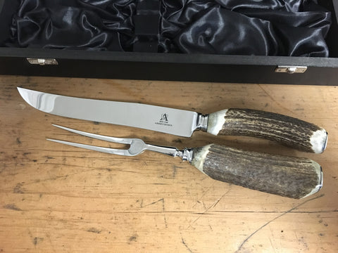 Stag Antler Carver Set - Boxed or Unboxed - Greige - Home & Garden - Chiswick, London W4