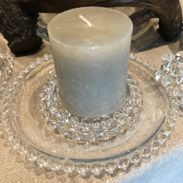 Clear Glass Candle Plates and Tray with Bobble Edge