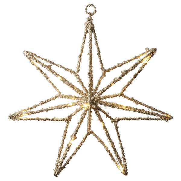 Light Gold LED Star Decoration - Battery Powered - Greige - Home & Garden - Chiswick, London W4