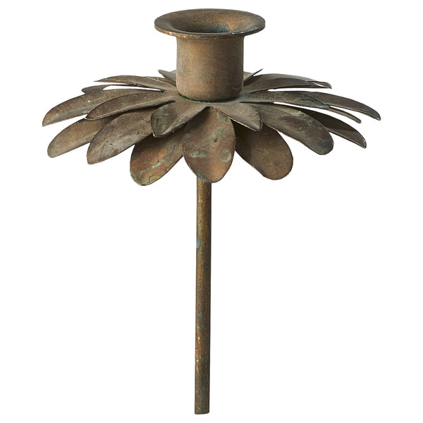Antique Bronze Flower Pin Candlestick for Thin Taper Candle - Greige - Home & Garden - Chiswick, London W4