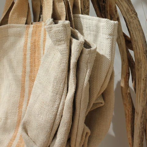 Vintage Grain Sack Linen Tote Bag - Greige - Home & Garden - Chiswick, London W4