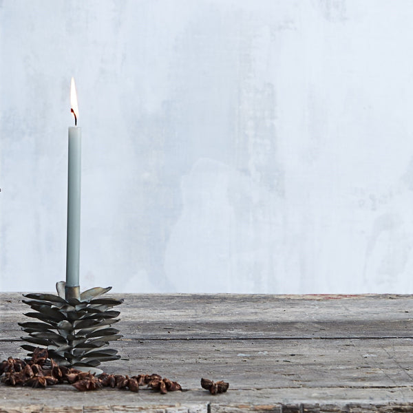 Pine Cone Candlestick for Thin Taper Candle - Greige - Home & Garden - Chiswick, London W4