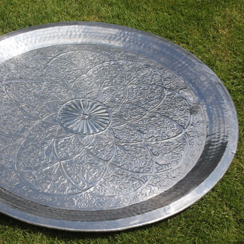 Hand Hammered Metal Trays - Indian Flower Design - Greige - Home & Garden - Chiswick, London W4