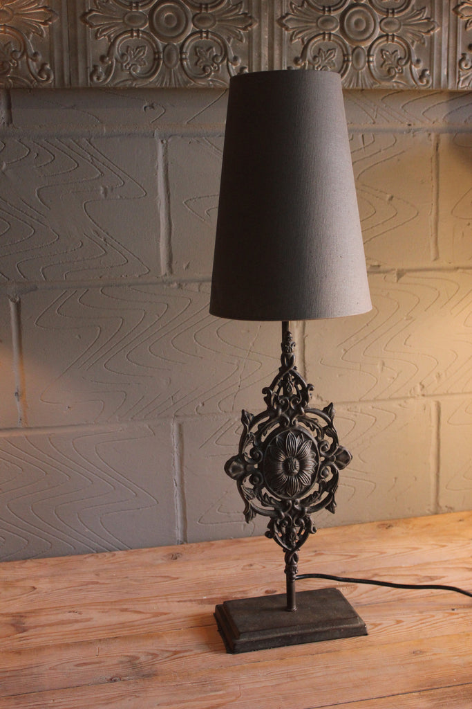 Heavy Iron Motif Table Lamp With Shade Greige Home
