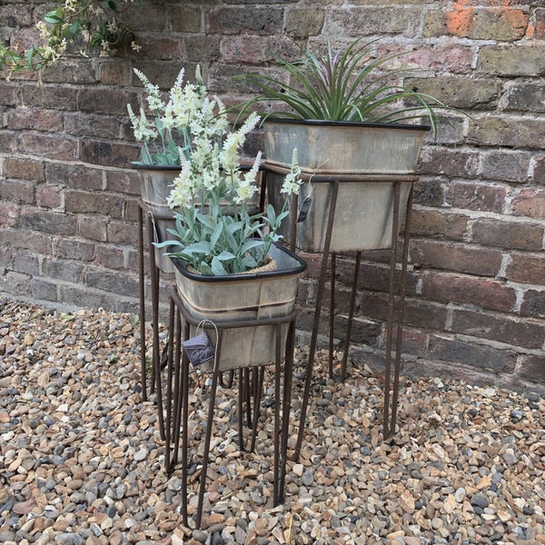 Rustic Iron Planter on Stand - Three Sizes - Greige - Home & Garden - Chiswick, London W4
