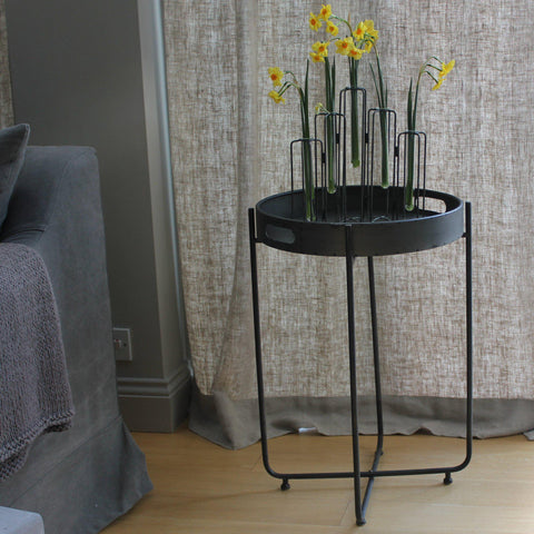 Round Tray Table with Folding Base
