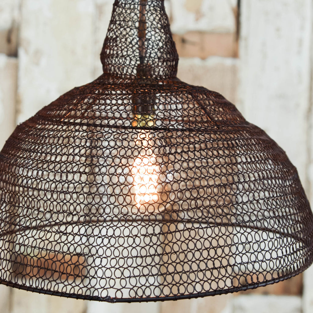 Unusual conical shaped wire lamp shade rust rust finish wire lampshade with conical shape greentooth Choice Image