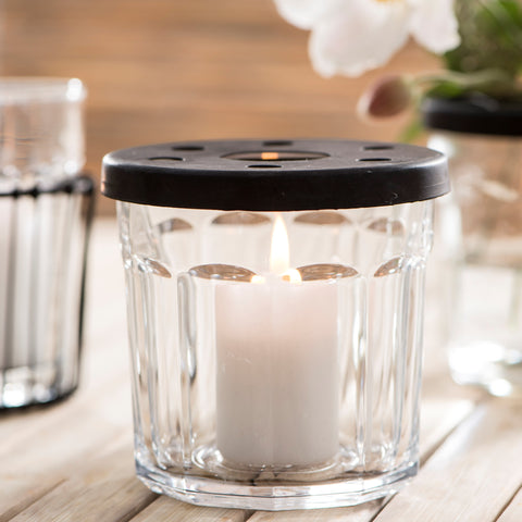 Simple Glass Jam Jar and Metal Cover with Holes