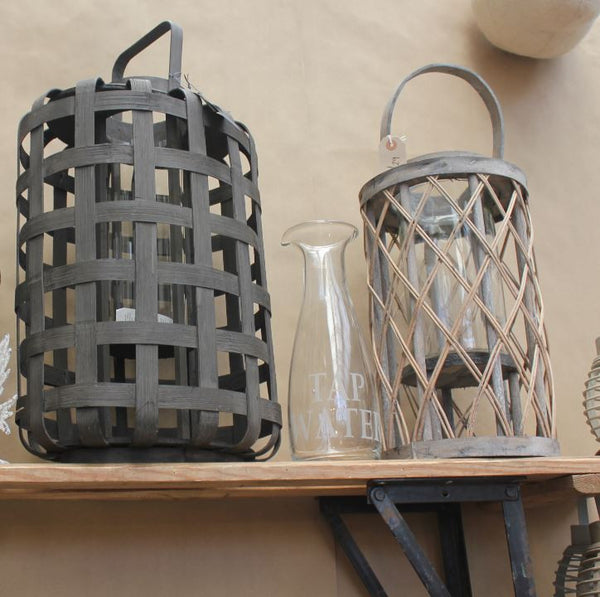 "Broste Bamboo Wooden Lantern ""Jana"" - Two Sizes - Greige - Home & Garden - Chiswick, London W4"