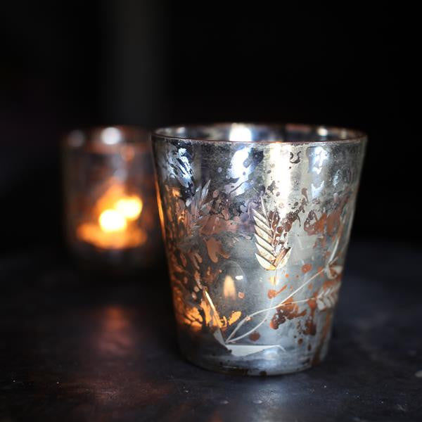 Silver Leaf Pattern Tealight Holder