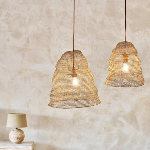 Dome Shape Wire Lamp Shade - Antique Brass - Two Sizes - Greige - Home & Garden - Chiswick, London W4