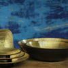 brass bowls with black hammered finish