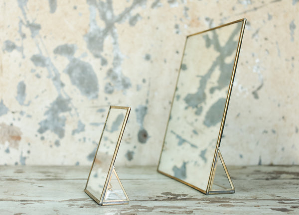 Antique Brass or Zinc Framed Mirror - Standing - Two Sizes - Greige - Home & Garden - Chiswick, London W4