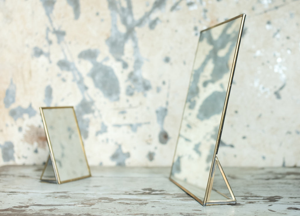 Antique Zinc Or Brass Framed Mirror Standing Two Sizes