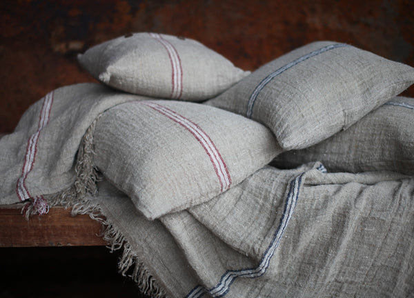 French Style Linen Cushion Cover - Two Sizes - Red or Navy Stripe - Greige - Home & Garden - Chiswick, London W4