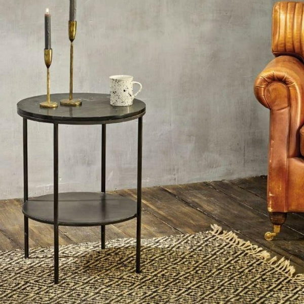 black marble and iron side table