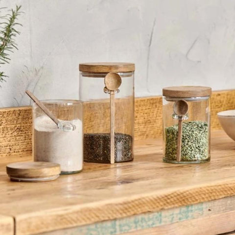 Recycled Glass Storage Jar with Wooden Lid and Spoon