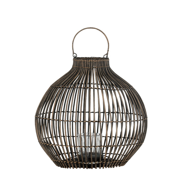 large dark brown rattan lantern