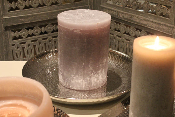 Shiny Hammered Nickel Candle Tray Plate For Pillar Candles