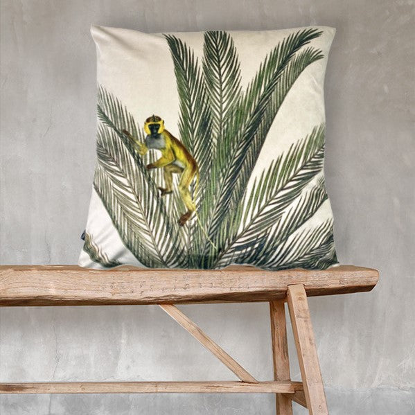 Velvet Cushion - Palm Monkey - 50 x 50 - Vanilla Fly