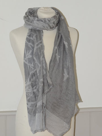 Silver Grey Bird of Light Cotton Shawl from Jo Edwards