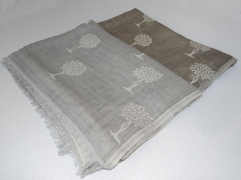Jo Edwards Tree of Life Scarf in Taupe