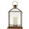 Antiqued Brass & Glass Lantern with Wooden Base - Two Sizes