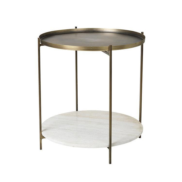 Tristan Table Broste Copenhagen Brass and Marble Side Table