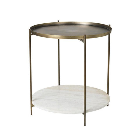 Marble and Antique Brass Side Table - Tristan - Broste Copenhagen - 40cm Diameter