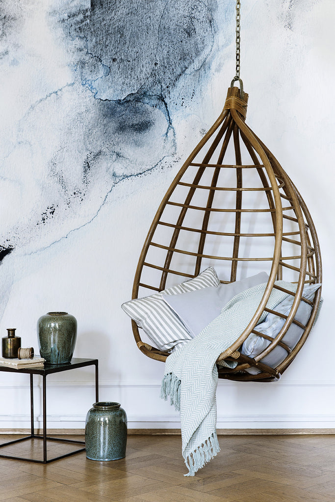 Rattan Hanging Chair Egg Shaped Broste Copenhagen Lot ...