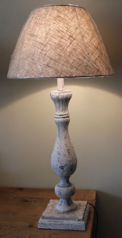 Carved Top Cream Distressed Lamp with Round Shade - Pair - Greige - Home & Garden - Chiswick, London W4