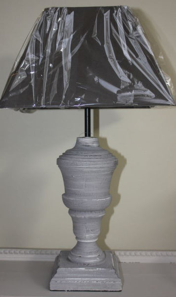 Wooden Urn Lamp with Square Shade - Pair - Greige - Home & Garden - Chiswick, London W4