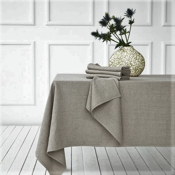 Laurette Heavy Washed Linen Tablecloth - Various Sizes - Greige - Home & Garden - Chiswick, London W4