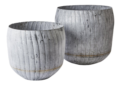 Large Galvanised Planter Set of Two