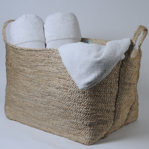Large Rectangular Jute Storage Basket Natural