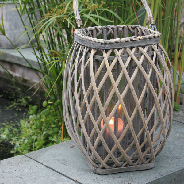 Large Willow & Glass Lantern - Greige - Home & Garden - Chiswick, London W4