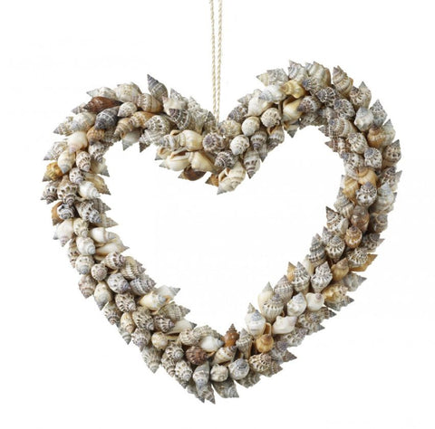natural Shell Heart Wreath Periwinkle