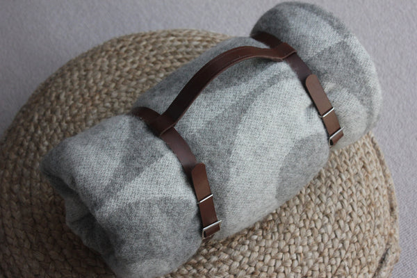 Leather Carry Strap for Scandinavian Wool Throw - Greige - Home & Garden - Chiswick, London W4