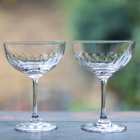 Vintage Style Champagne Saucers - Set of Two - Greige - Home & Garden - Chiswick, London W4