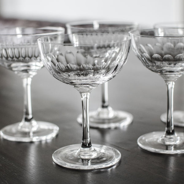 vintage style champagne saucers