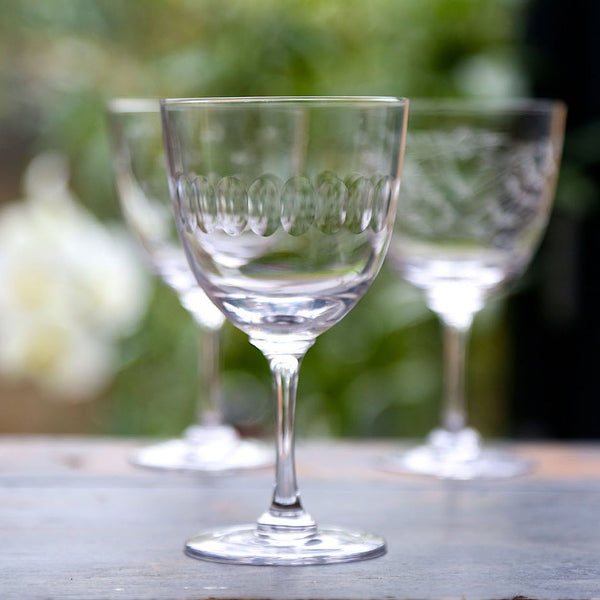 Vintage Style Long Stem Wine Glass - Set of Six - Greige - Home & Garden - Chiswick, London W4
