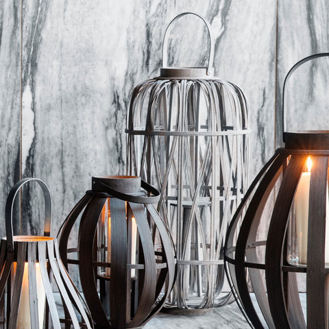 Tall bamboo wood lantern from Broste Copenhagen Leta