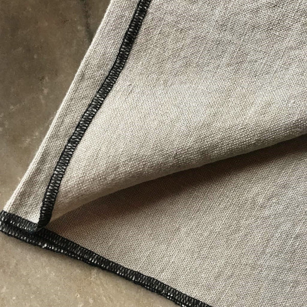 100% Linen Napkins with Contrast Oversewn Edging - Oatmeal or Granite Grey - Greige - Home & Garden - Chiswick, London W4